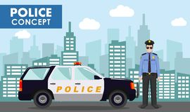 Police concept. Detailed illustration of policeman on background with police car and cityscape in flat style. Vector. Police concept. Detailed illustration of vector illustration