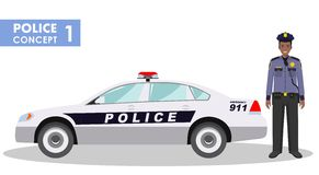 Police concept. Detailed illustration of policeman and car in flat style on white background. Stock Images