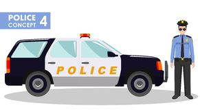 Police concept. Detailed illustration of policeman and car in flat style on white background. Vector illustration. Royalty Free Stock Images
