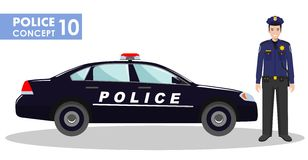Police concept. Detailed illustration of policeman and car in flat style on white background. Vector illustration. Stock Photo