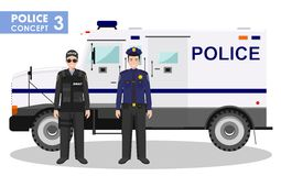 Police concept. Detailed illustration of SWAT officer, policeman and armored car in flat style on white background Royalty Free Stock Image