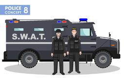 Police concept. Detailed illustration of SWAT officer, policeman and armored car in flat style on white background Stock Photography