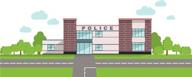 Police concept. Panoramic background with police department building in flat style. Stock Image