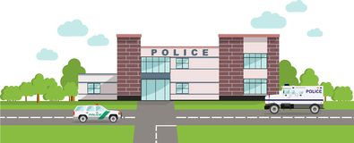 Police concept. Panoramic background with police department building and police cars in flat style. Royalty Free Stock Photography
