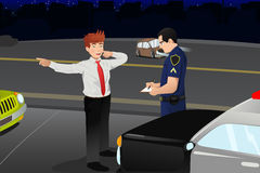 Police conducting a DUI test for a drunk driver royalty free illustration