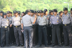 Police. Conducting the presidential election security in the town of Solo, Central Java, Indonesia Stock Photo
