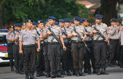 Police. Conducting the presidential election security in the town of Solo, Central Java, Indonesia Royalty Free Stock Image