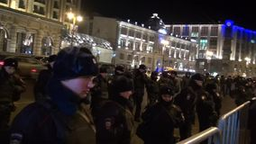 A police cordon around the protest action in Moscow stock video