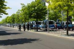 Police cordon in the government quarter (Regierungsviertel) Stock Photos