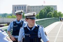 Police cordon in the government quarter (Regierungsviertel) Royalty Free Stock Image