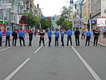 Police cordon in Kiev before match England-Sweden, Stock Photography