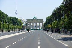 Police cordon near the Brandenburg gate Stock Photos