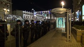 A police cordon near the bus stop in Moscow stock footage
