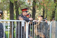 Police cordon on shares of Russian opposition for fair elections Royalty Free Stock Photos