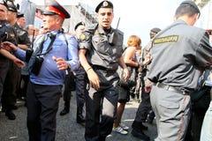 Police cordon on Triumfalnaya square in Moscow Stock Photo