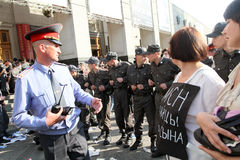 Police cordon on Triumfalnaya square in Moscow Stock Photography