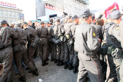 Police cordon on Triumfalnaya square in Moscow Royalty Free Stock Images