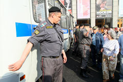 Police cordon on Triumfalnaya square in Moscow Royalty Free Stock Photos
