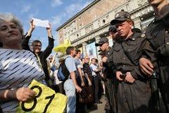 Police cordon on Triumfalnaya square in Moscow Royalty Free Stock Photography