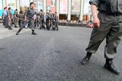 Police cordon on Triumfalnaya square in Moscow Stock Photos