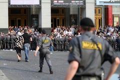 Police cordon on Triumfalnaya square in Moscow Stock Image