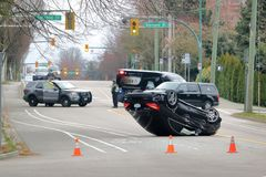 Cordoned Off Motor Vehicle Accident Stock Photo