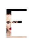 Police créative de mode de fille de maquillage de beauté de lettre d'E Photo stock