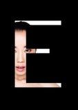 Police créative de mode de fille de maquillage de beauté de lettre d'E Photos libres de droits