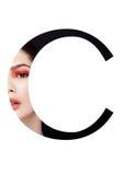 Police créative de mode de fille de maquillage de beauté de lettre de C Photographie stock