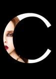 Police créative de mode de fille de maquillage de beauté de lettre de C Photos libres de droits