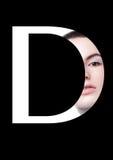 Police créative de mode de fille de maquillage de beauté de lettre de D Images stock