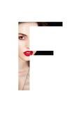 Police créative de mode de fille de maquillage de beauté de lettre de F Photographie stock