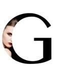 Police créative de mode de fille de maquillage de beauté de lettre de G Photos libres de droits
