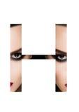 Police créative de mode de fille de maquillage de beauté de lettre de H Image libre de droits