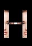 Police créative de mode de fille de maquillage de beauté de lettre de H Image stock