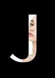 Police créative de mode de fille de maquillage de beauté de lettre de J Photo stock