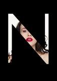 Police créative de mode de fille de maquillage de beauté de lettre de N Images libres de droits