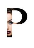 Police créative de mode de fille de maquillage de beauté de lettre de P Image libre de droits