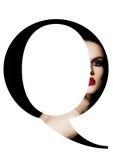 Police créative de mode de fille de maquillage de beauté de lettre de Q Images libres de droits