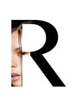 Police créative de mode de fille de maquillage de beauté de lettre de R photos stock