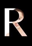 Police créative de mode de fille de maquillage de beauté de lettre de R Images stock