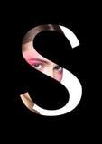Police créative de mode de fille de maquillage de beauté de lettre de S Image libre de droits