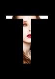Police créative de mode de fille de maquillage de beauté de lettre de T Images stock