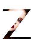 Police créative de mode de fille de maquillage de beauté de lettre de Z Photos stock