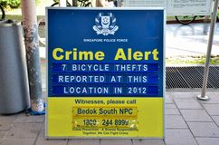 Police crime alert notice: Singapore Royalty Free Stock Images