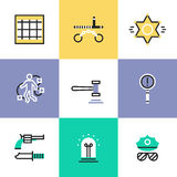 Police and crime pictogram icons set. Flat line icons of police crime scene, law criminal procedure, justice gavel, detective investigation, finding evidence Royalty Free Stock Images