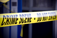 Police crime scene. Close up crime scene investigation police boundary tape Stock Image