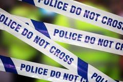 Police crime scene. Crime scene investigation police boundary tape concept for law enforcement Stock Photography