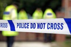 Police crime scene. Crime scene investigation police do not cross boundary tape investigating police team