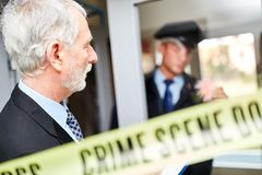 Police at crime scene at the scene. Police at forensics at the scene after a crime royalty free stock images